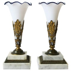 French White Opaline and Blue Art Glass Vases on Brass and Marble Bases, Pair