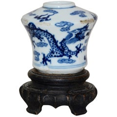 Blue and White Asian Ceramic Art Piece with Wooden Stand