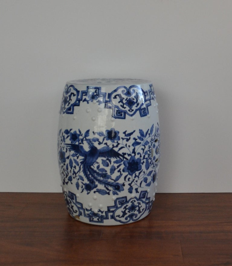 Hand painted blue and white Asian garden stool.