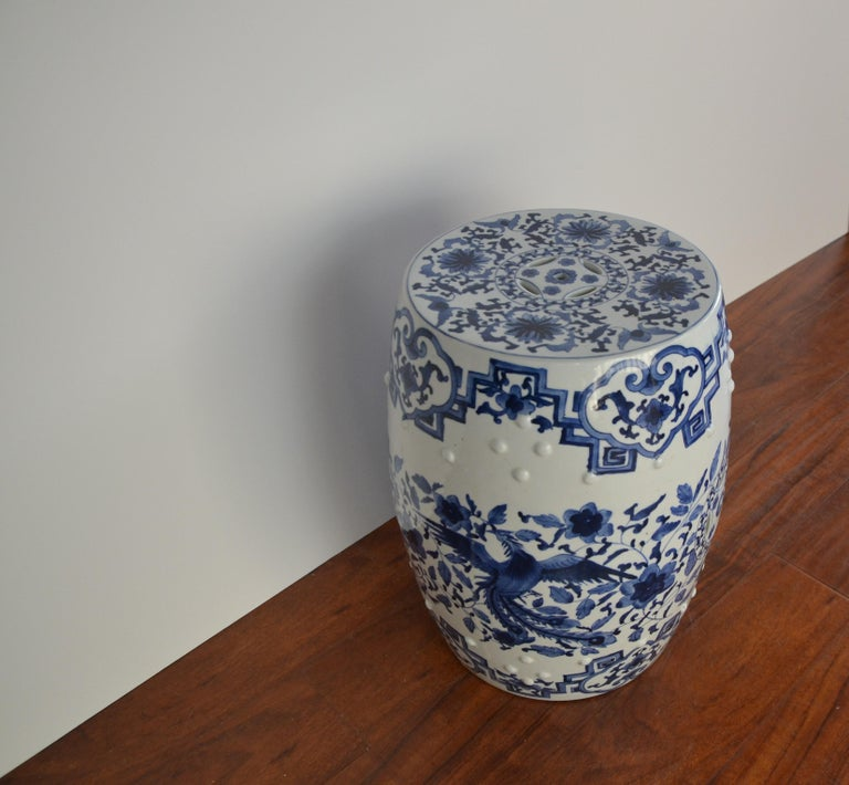 20th Century Blue and White Asian Garden Stool For Sale