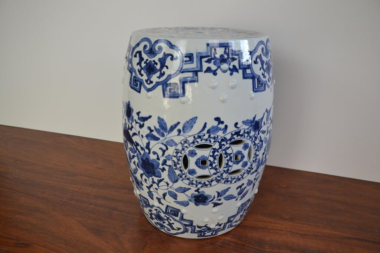 Pottery Blue and White Asian Garden Stool For Sale