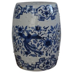 Blue and White Asian Garden Stool