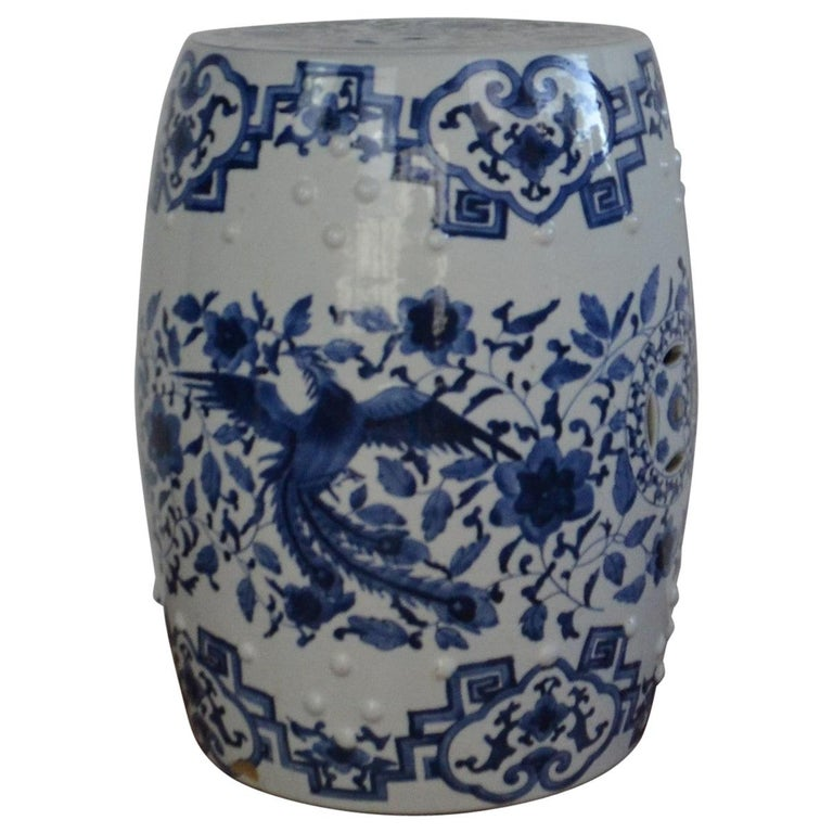 Blue and White Asian Garden Stool For Sale