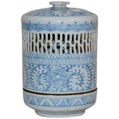 Blue and White Asian Pierced Ceramic Incense Burner, 20th Century