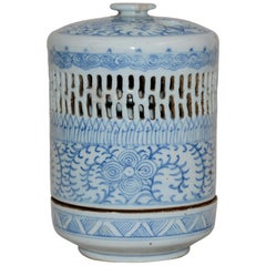 Blue and White Asian Pierced Ceramic Incense Burner, 20th Century