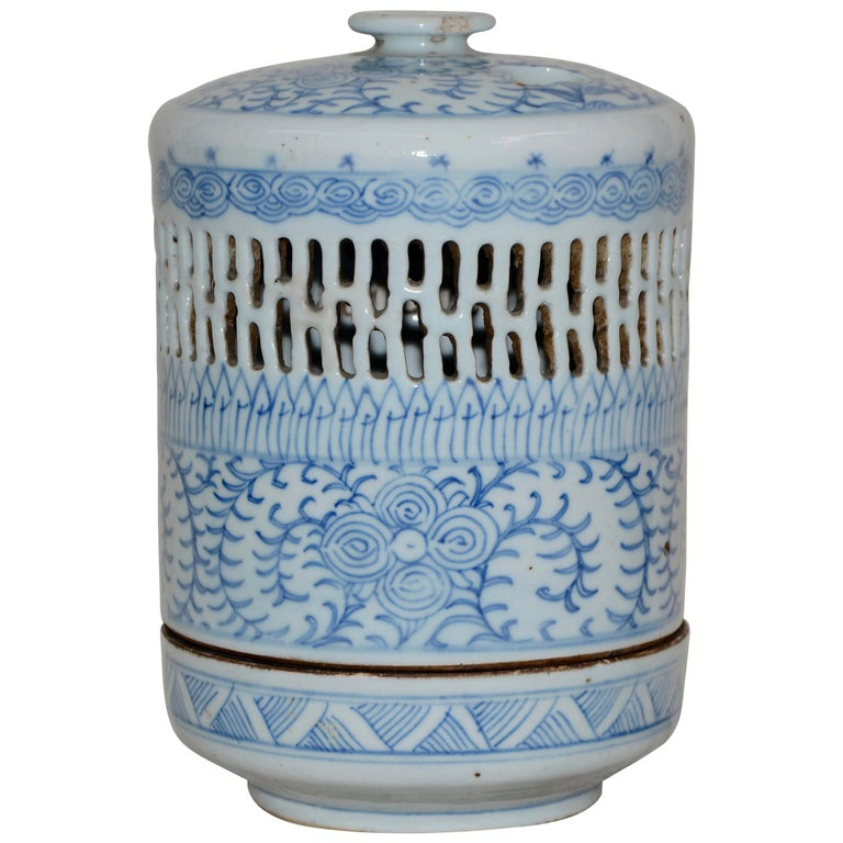 Blue and White Asian Pierced Ceramic Incense Burner, 20th Century For Sale