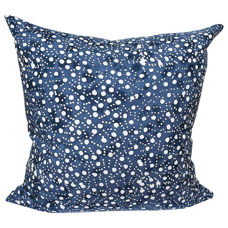 Blue and White Batik Double Side Down Fill Pillow with Zip Closure For Sale
