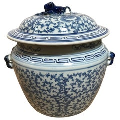 Blue and White Ceramic Chinese Pot with Lid