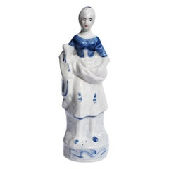 Blue and White Ceramic Chintz Figurine of a Peasant Woman