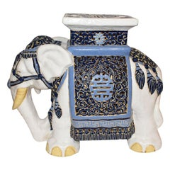Blue and White Ceramic Elephant Garden Stool or Drink Table