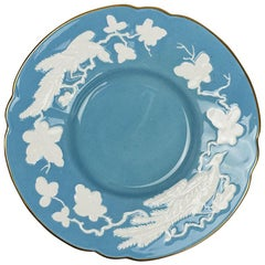 Blue and White Ceramic Floral Royal Crown Derby Bird Plate, 1940s, England