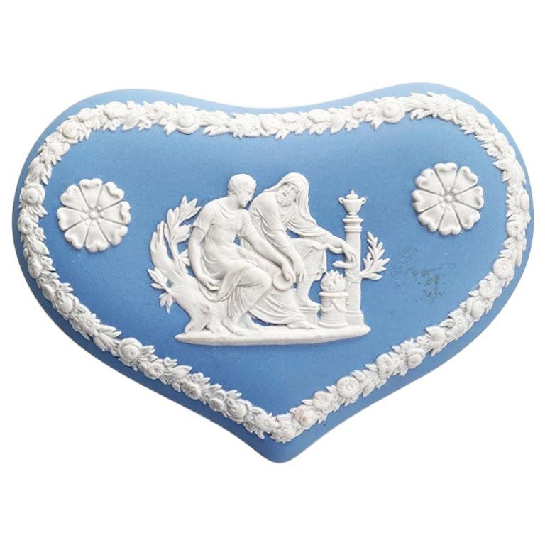Blue and White Ceramic Heart Shape Trinket Box with Lid by Wedgwood