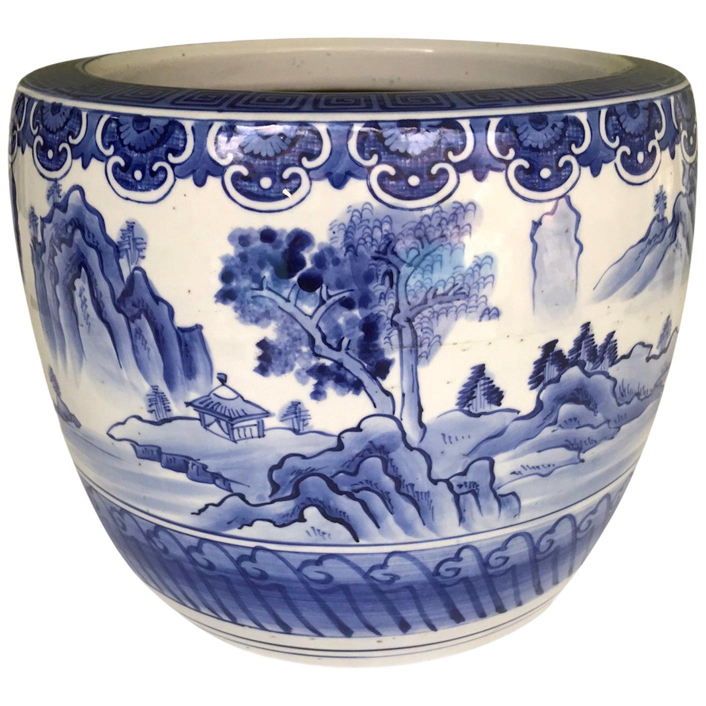 Blue and White Ceramic Japanese Hibachi 1960s Hand Painted Serene Village Scene