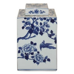 Blue and White Cherry Blossom Jar