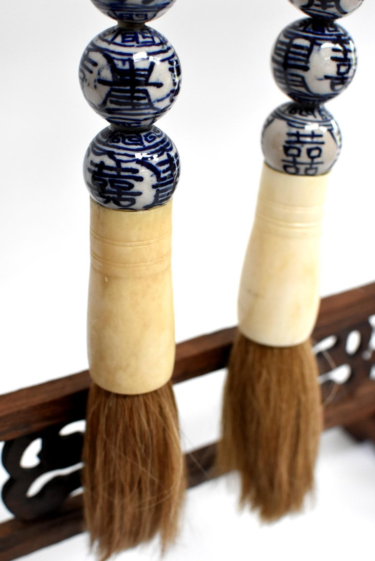 Blue and White Chinese Brush, Pair of Calligraphy Brushes In Good Condition For Sale In Somis, CA