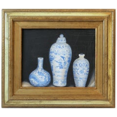Blue and White Chinese Ceramic Pottery Oil Painting with Gold Giltwood Frame