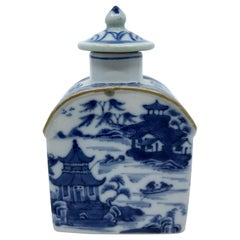 Blue and White Chinese Export Tea Caddy