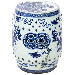 Blue and White Chinese Garden Seat with Bird Motif