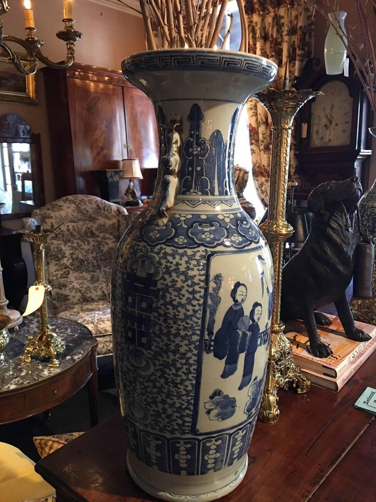 Blue and White Chinese Large Baluster Form Vase, 20th Century In Good Condition For Sale In Savannah, GA