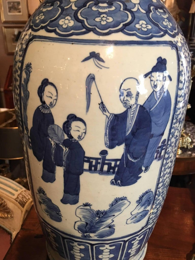 Porcelain Blue and White Chinese Large Baluster Form Vase, 20th Century For Sale