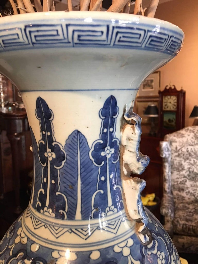 Blue and White Chinese Large Baluster Form Vase, 20th Century For Sale 1