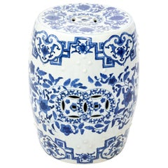 Blue and White Chinese Porcelain Garden Seat with Dragon Motif