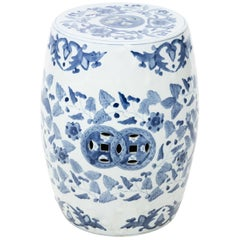 Blue and White Chinese Porcelain Garden Seat with Phoenix Motif