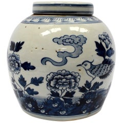 Blue and White Chinese Porcelain Jar, Bird and Peony