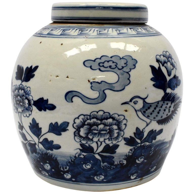 Blue And White Chinese Porcelain Jar Bird Peony