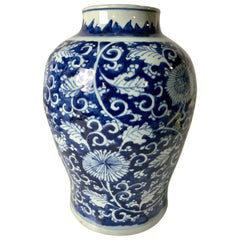 Blue and White Chinese Porcelain Vase Made in the Kangxi Era