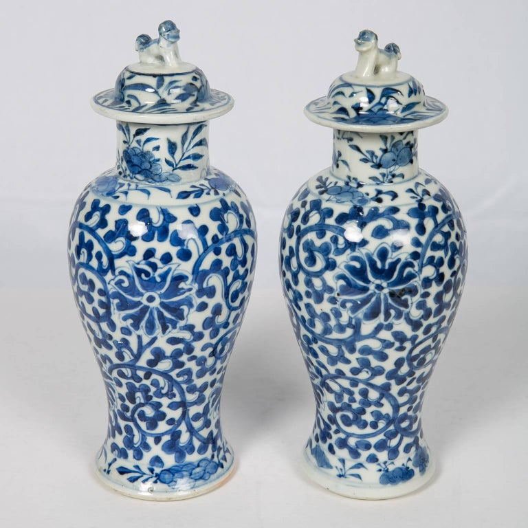 Blue And White Chinese Porcelain Vases Pair For Sale At 1stdibs