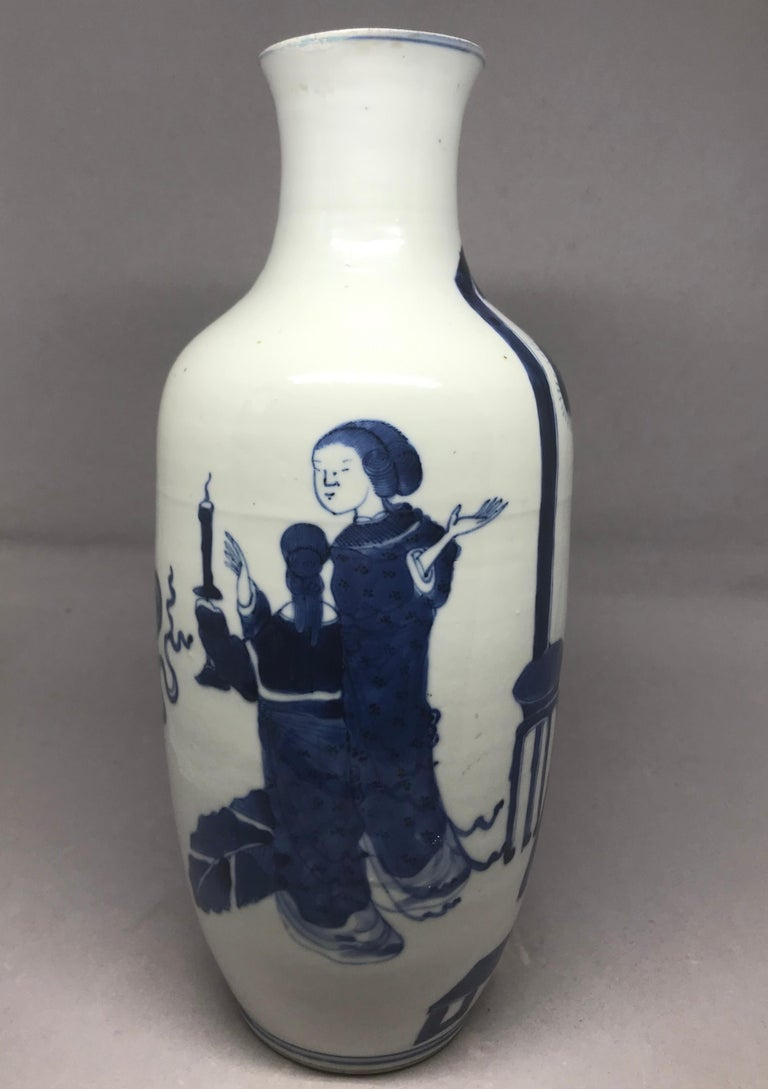 Hand-Painted Blue and White Chinese Vase For Sale