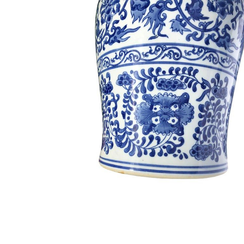 Astounding Antique Round Ceramic Floral Blue And White Chinese Export Creativecarmelina Interior Chair Design Creativecarmelinacom