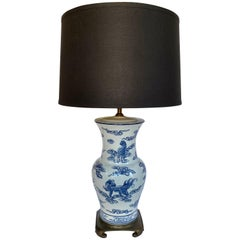 Blue and White Lucky Foo Dog and Coral Chinoiserie Porcelain Table Lamp
