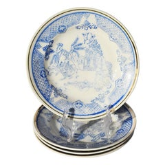 Blue and White Chinoiserie Porcelain Saucer Set of 5, Japan