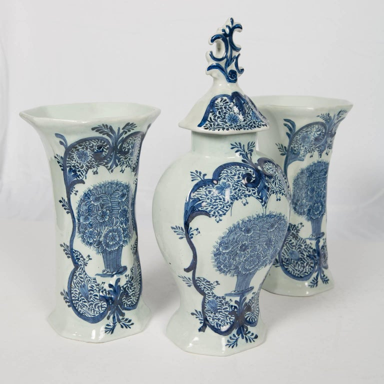 Rococo Blue and White Delft 3-Piece Mantle Garniture Similar Philadelphia Museum of Art For Sale