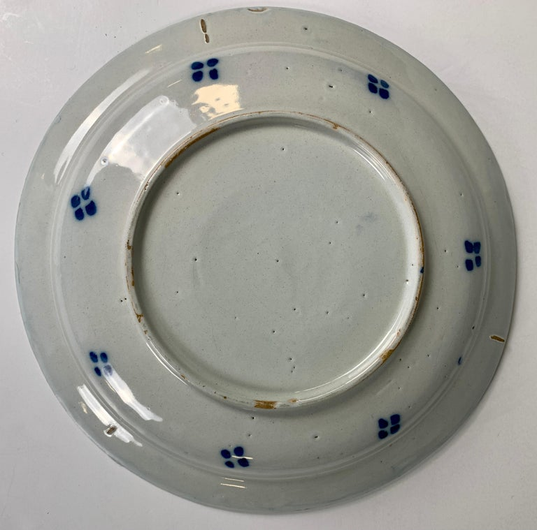 Blue and White Delft Charger Hand-Painted, Netherlands, 18th Century, Circa 1760 For Sale 2