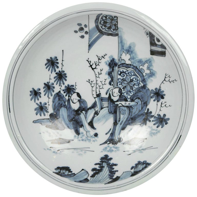 Blue and White Delft Charger with Chinese Inspired Scene Made circa 1640-1650 For Sale