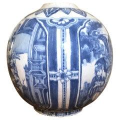 Blue and White Delft Chinoiserie Vase