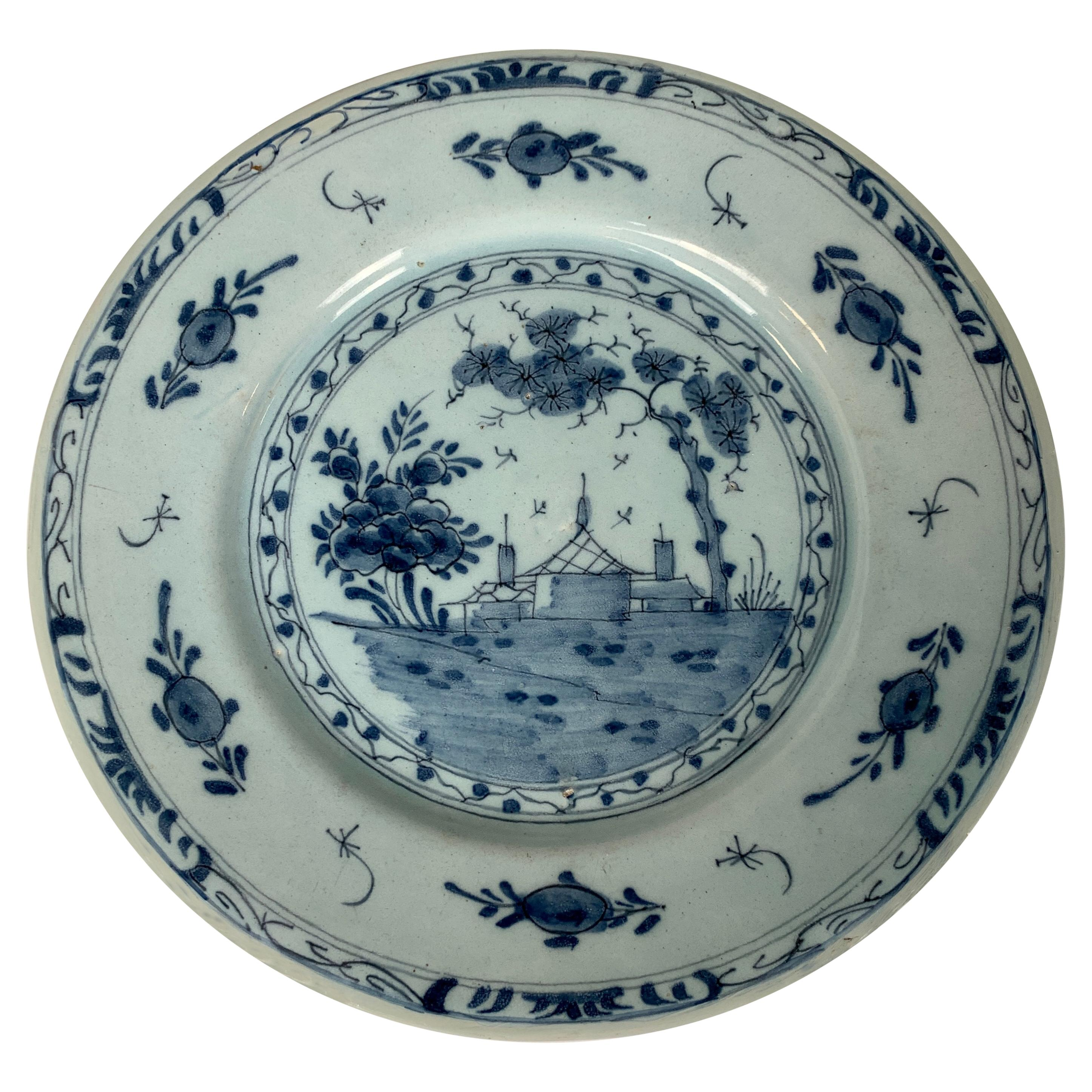 Blue and White Delft Dish Hand-Painted 18th Century, England, Circa 1760