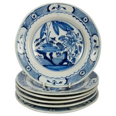Six Delft Blue and White Dishes 18th Century circa 1785