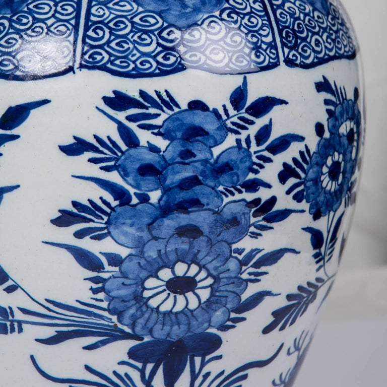 Rococo Blue and White Delft Ginger Jars Made in Netherlands, circa 1860 For Sale