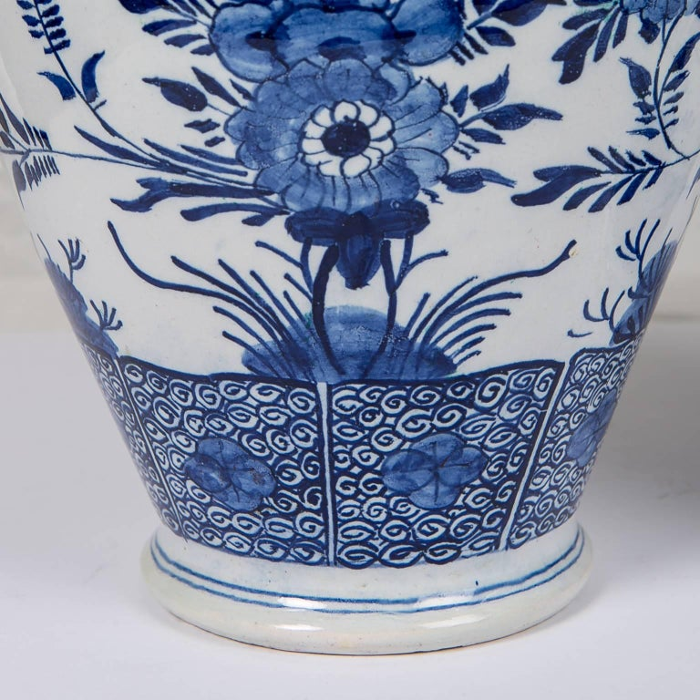 Dutch Blue and White Delft Ginger Jars Made in Netherlands, circa 1860 For Sale