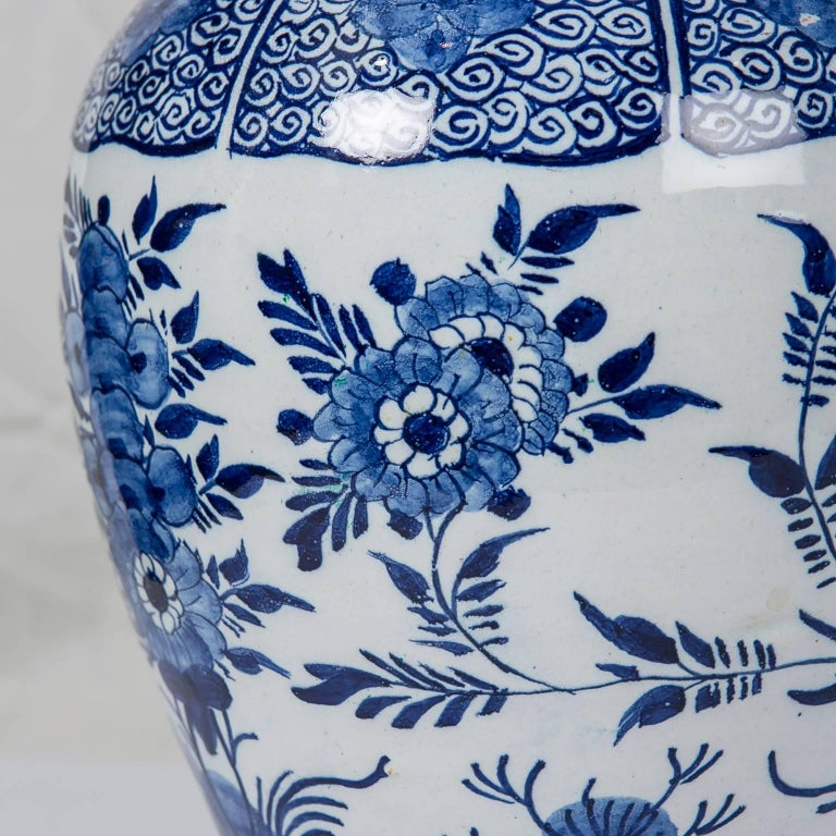 Hand-Painted Blue and White Delft Ginger Jars Made in Netherlands, circa 1860 For Sale
