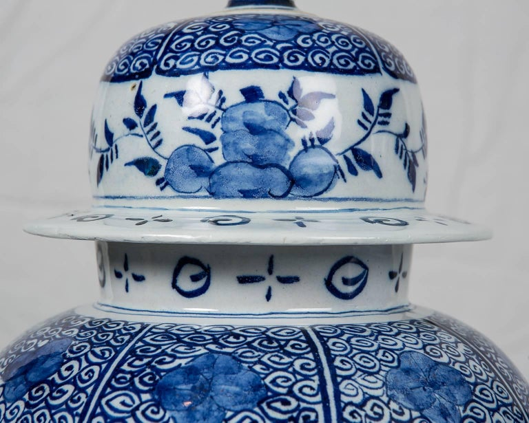 19th Century Blue and White Delft Ginger Jars Made in Netherlands, circa 1860 For Sale