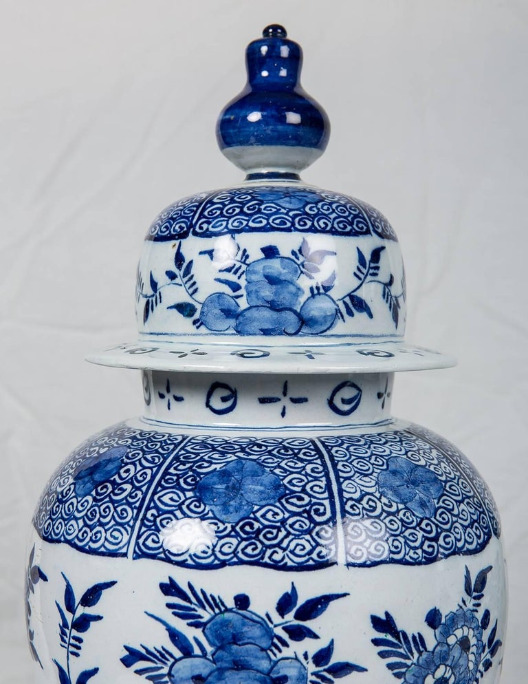 Blue and White Delft Ginger Jars Made in Netherlands, circa 1860 For Sale 1