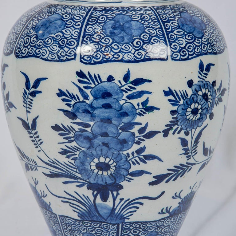 Blue and White Delft Ginger Jars Made in Netherlands, circa 1860 For Sale 2
