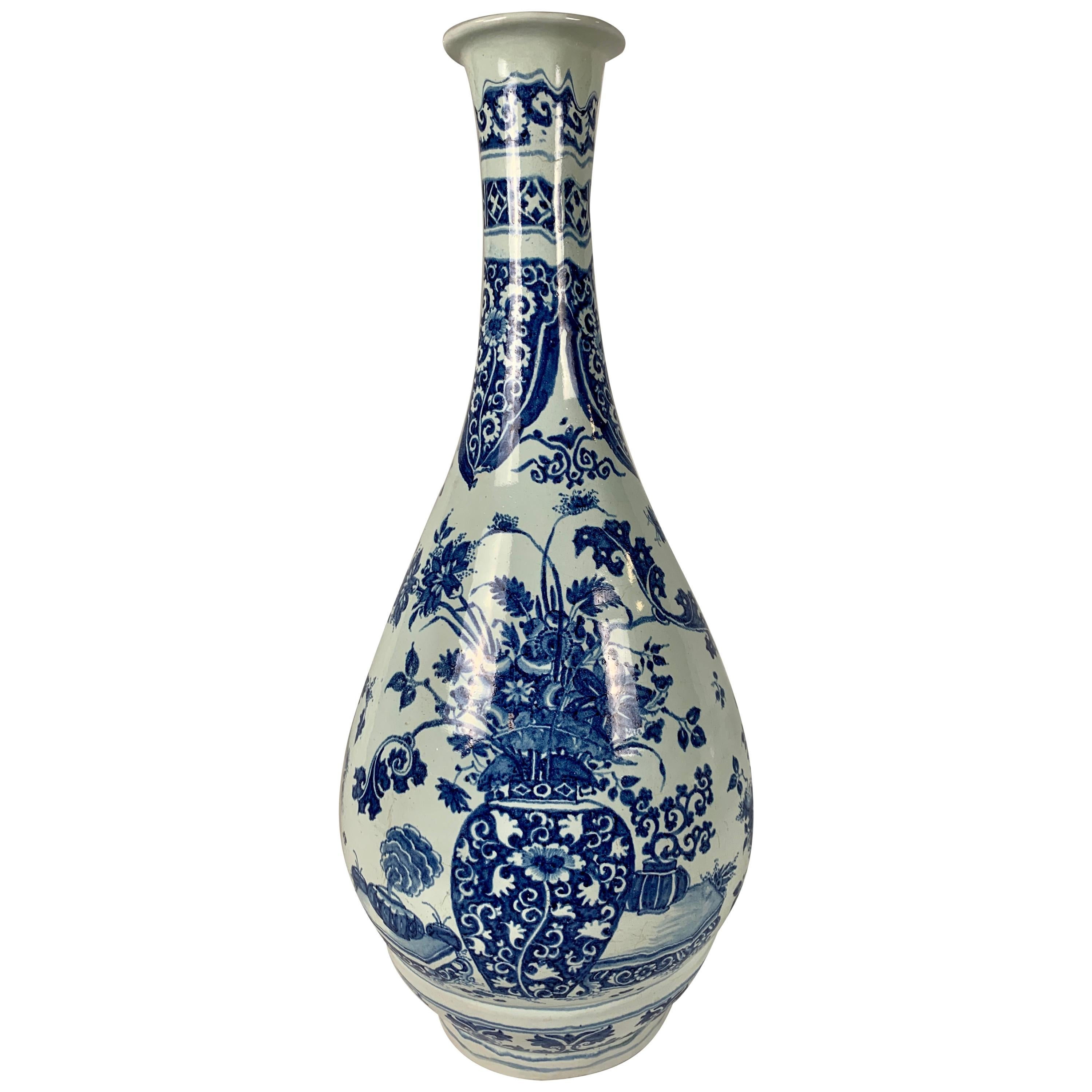Blue and White Delft Large Pear Shaped Vase