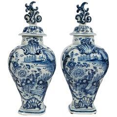 Pair Blue and White Delft Mantle Vases Made by De Grieksche A, circa 1703-1722
