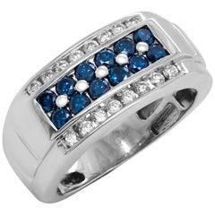 Blue and White Diamond 14 Karat White Gold Men's Ring